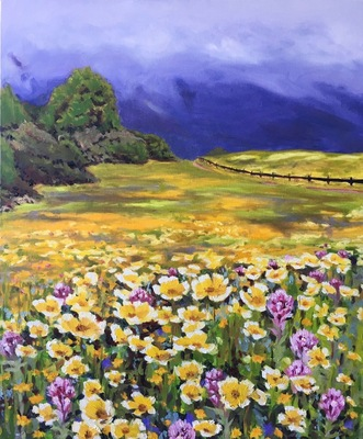 Spring Blooms at Edgewood, oil on canvas, 22
