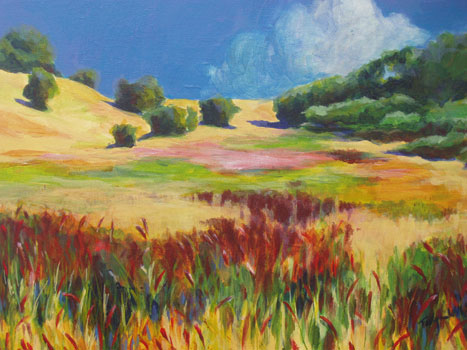 Edgewood, Carex Meadow: acrylic on canvas, 9x12