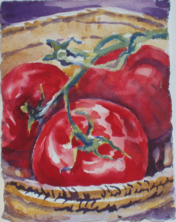 Pretty Tomatoes: watercolor on paper, 4x7