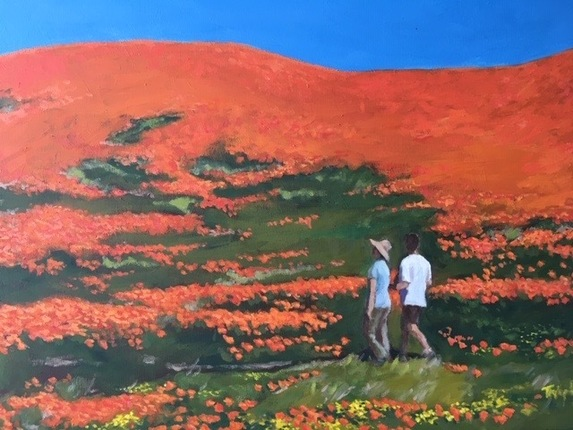 California Poppy Preserve, oil on canvas, 18