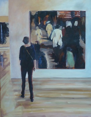 At the Anderson, oil on canvas, 28